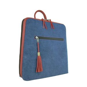 Dámsky ruksak z talianskej prírodnej hovädzej kože, imitácia rifloviny