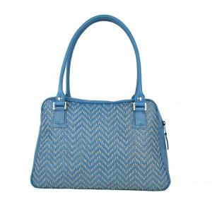 Ručne vyšívaná kabelka z pravej kože v modrej farbe – šedé vyšívanie