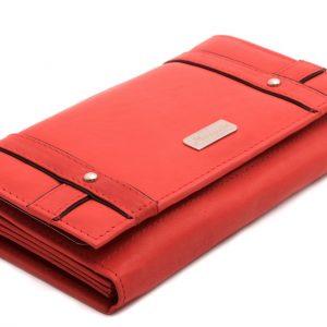 Peňaženka červená vzorovane prešívaná