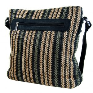 Čierna pruhovaná textilná crossbody kabelka T2050