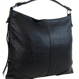 Čierna dámska kabelka na rameno v jemnom kroko dizajne 2456-BB