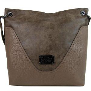 Veľká dámska crossbody kabelka ílová hnedá
