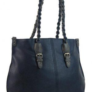 Modrá väčšia kabelka cez plece