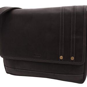 Kožená taška na notebook čierna