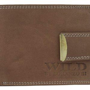 Hnedá pánska peňaženka z brúsenej kože WILD