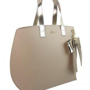 Béžová / zlatá dámska kabelka s mašľou S739 GROSSO