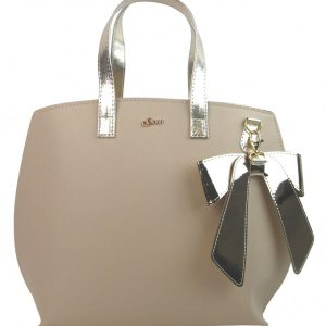 Béžová / zlatá dámska kabelka s mašľou GROSSO