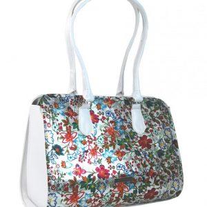 Biela elegantná kabelka s motívmi kvetov S61 GROSSO