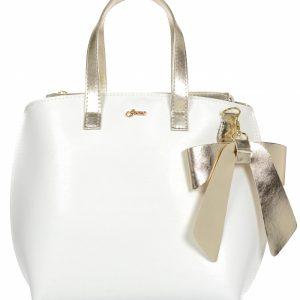 Biela / zlatá dámska kabelka s mašľou S739 GROSSO