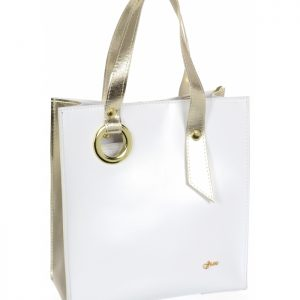 Bielo-zlatá moderná obdĺžniková dámska kabelka GROSSO