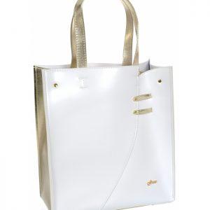 Bielo-zlatá moderná obdĺžniková dámska kabelka S753 GROSSO