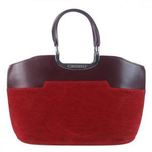 Červená bordová matná kabelka do ruky S5 GROSSO