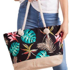 Letná ľahká plážová taška čierna s lístkami