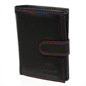 Čierna pánska kožená peňaženka so zápinkou v krabičke GROSSO