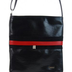 Čierna športová crossbody kabelka s červeným pruhom M189 GROSSO