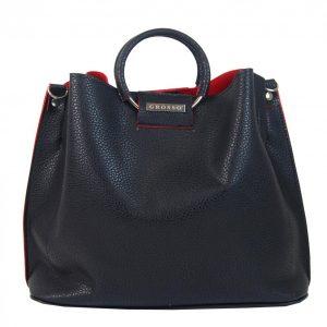 Čierno-červená moderná dámska kabelka do ruky S748 GROSSO