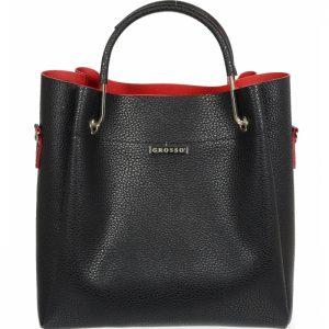 Čierno-červená elegantná dámska kabelka S728 GROSSO