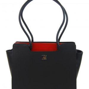 Čierna elegantná kabelka cez rameno s karmínovými doplnkami S551 GROSSO