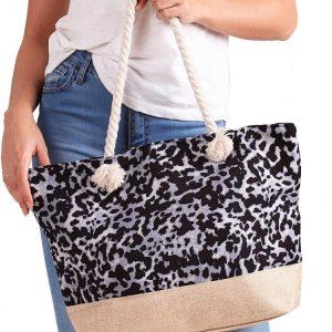 Letná ľahká plážová taška šedo-čierna s leopardím vzorom