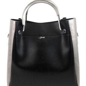 Čierno-strieborná elegantná dámska kabelka S728 GROSSO
