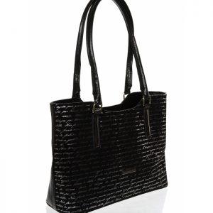 Čierna mäkká elegantná kabelka so striebornou potlačou písmen S729 GROSSO