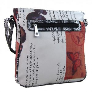 Crossbody dámska kabelka s potlačou 1024 hnedočervená