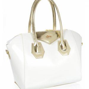 Biela dámska kabelka so zlatými doplnkami GROSSO