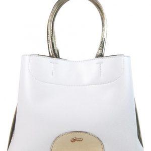 Biela elegantná dámska kabelka so zlatými doplnkami S750 GROSSO