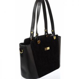 Čierna dámska kabelka cez rameno S640 GROSSO