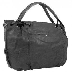 Veľká dámska kabelka z brúsenej ekokože tmavo šedá