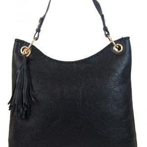 Moderná veľká čierna kabelka s potlačou kvetín