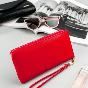 Červená praktická dámska zipsové peňaženka v darčekovej krabičke