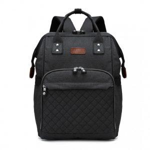 KONO Čierny batoh pre mamičky vhodný aj na kočík