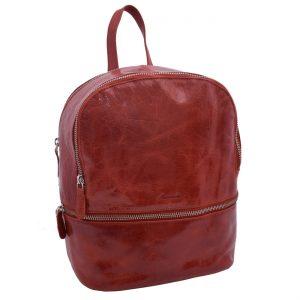 Dámsky kožený batoh červený