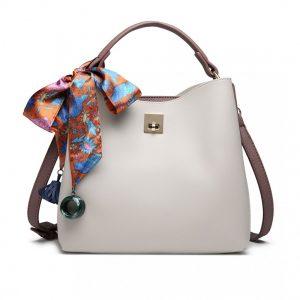 Menšia šedo-ružová kabelka do ruky so šatkou Miss Lulu