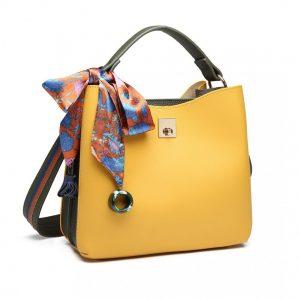 Menšia žlto-zelená kabelka do ruky so šatkou Miss Lulu