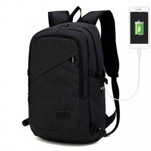 KINO čierny moderný elegantný batoh s USB portom UNISEX