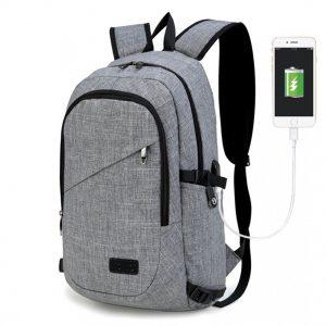 KINO šedý moderný elegantný batoh s USB portom UNISEX