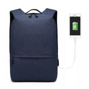 KONO modrý elegantný batoh nepremokavý s USB portom UNISEX