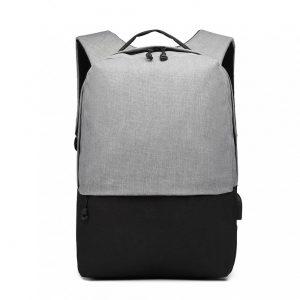 KONO šedo-čierny elegantný batoh nepremokavý s USB portom UNISEX