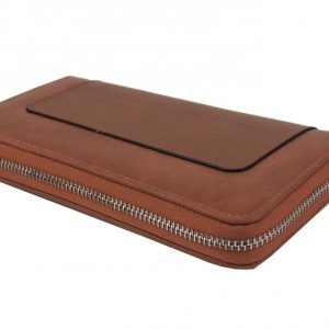 Dámska peňaženka hnedá s obvodovým zipsom