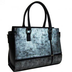 Čierno-strieborná patinovaná elegantná dámska kabelka S679 GROSSO