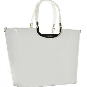 Elegantná biela lakovaná kabelka S7 GROSSO