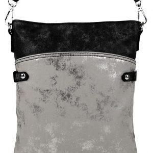 Elegantná malá dámska crossbody kabelka čierna s šedostriebornou patinou
