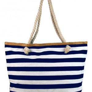Veľká modro-biela ľahká plážová taška cez rameno