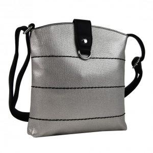 Malá dámska crossbody kabelka strieborná s čiernym pásikom
