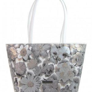 Biela dámska kabelka v motíve kvetín S533 GROSSO