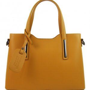 Kožená horčicovo žltá dámska kabelka do ruky Maila