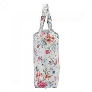 Biela kožená dámska kabelka Patrizia Piu v motíve kvetov