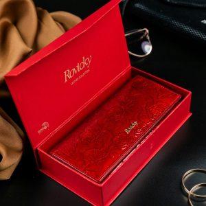 Rovicky červená dámska kožená peňaženka RFID v darčekovej krabičke